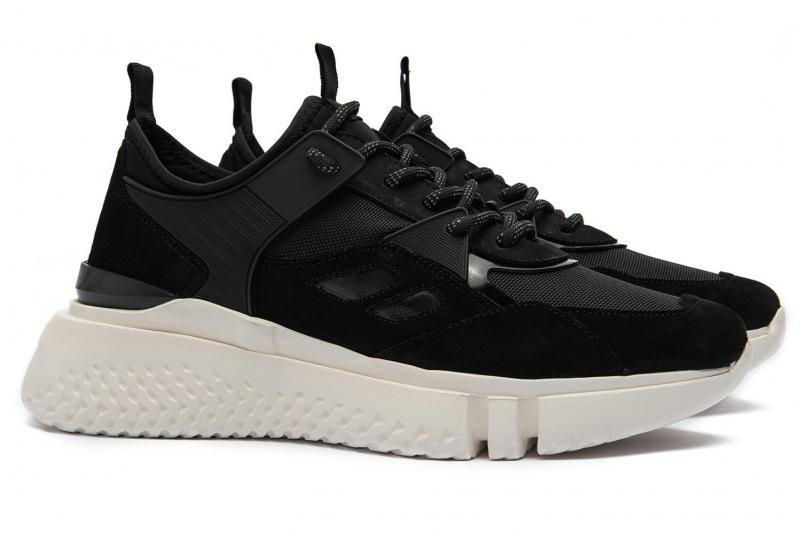 Sneakers negri piele nabuc si textil