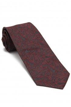 Cravata matase tesuta gri print floral
