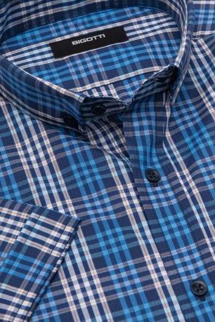 Camasa cu maneca scurta shaped bleumarin in carouri