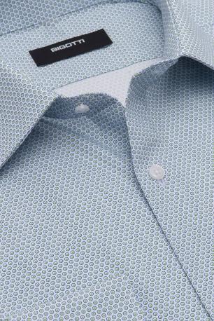 Camasa slim bleu print geometric