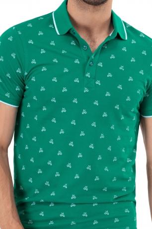 tricou polo verde print geometric