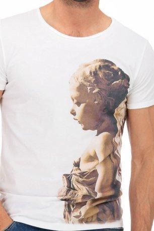 Tricou slim alb print