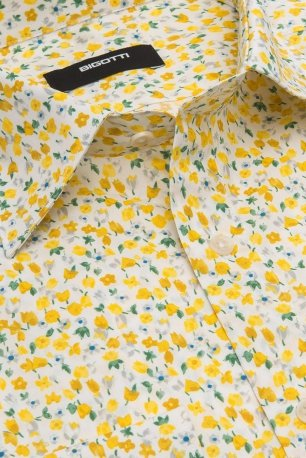 Camasa superslim galbena print floral