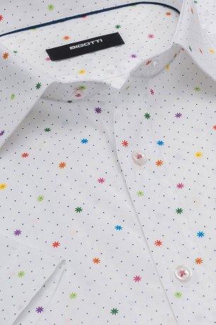 Camasa cu maneca scurta slim alba cu print geometric