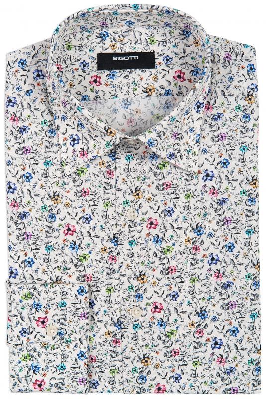 Camasa Superslim Bej print Floral