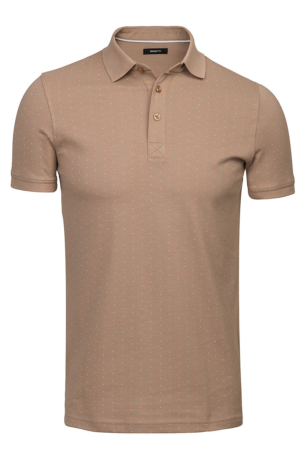 Tricou polo bej microprint 0