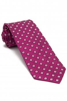 Cravata matase tesuta roz print geometric