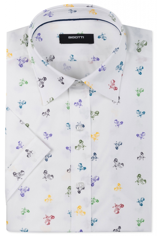 Camasa cu maneca scurta shaped alba print geometric