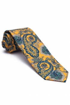 Cravata galbena print floral