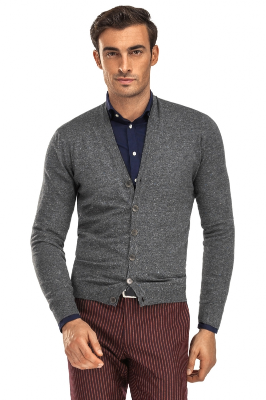 Cardigan slim gri in v