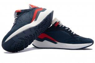 Sneakers albastri piele naturala si textil