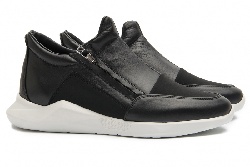 sneakers negri piele si textil