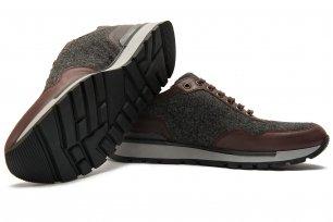 Sneakers gri piele si textil