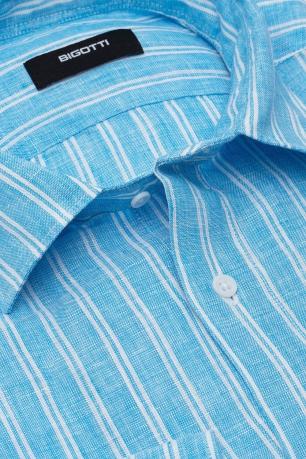 Camasa Slim din in Bleu in Dungi