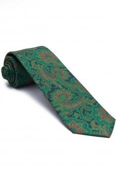 Cravata matase verde print floral