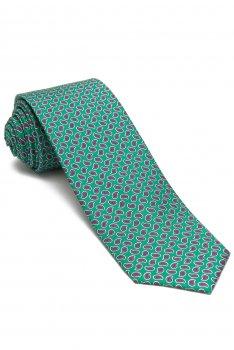 Cravata matase tesuta verde print floral