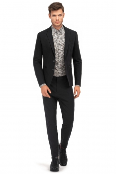Slim Black Plain Blazer