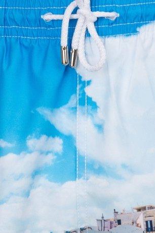 Short albastru print