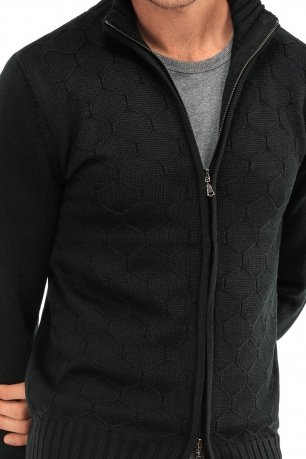 Pulover slim negru uni cu fermoar