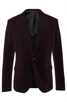 Slim body Burgundy Plain Blazer