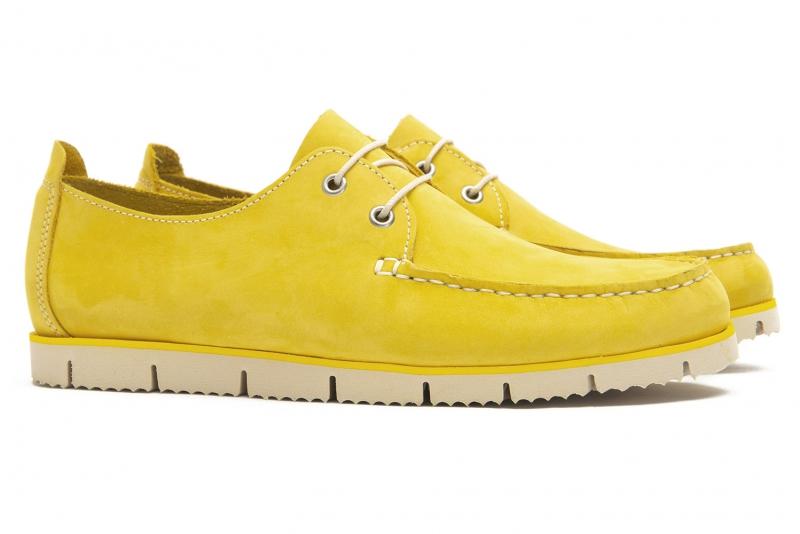 Pantofi galbeni piele nabuc