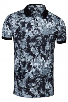 Tricou slim Negru print floral