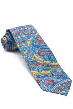 Cravata matase tesuta multicolora print floral