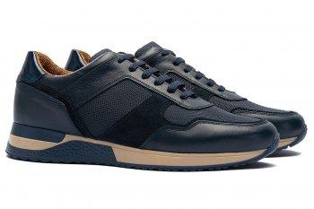 sneakers Bleumarin Piele naturala si textil
