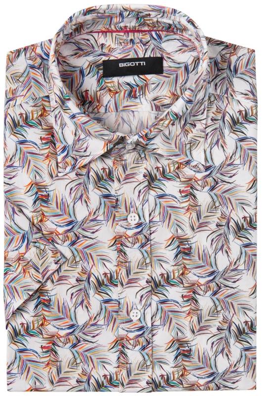 Camasa cu maneca scurta superslim alba print floral