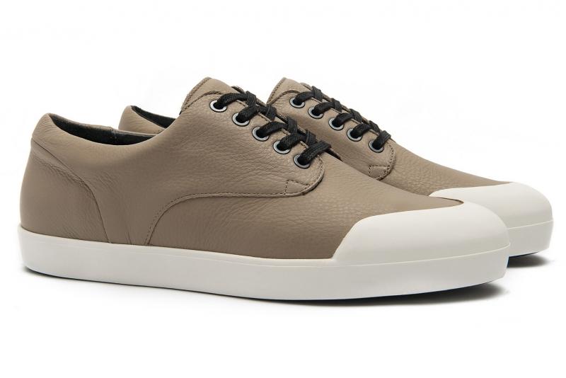 sneakers grej piele naturala