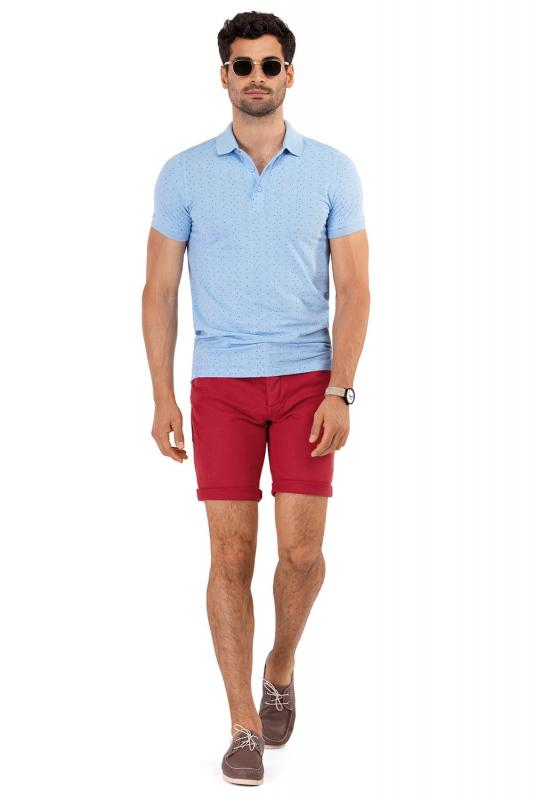 Tricou slim polo bleu print geometric