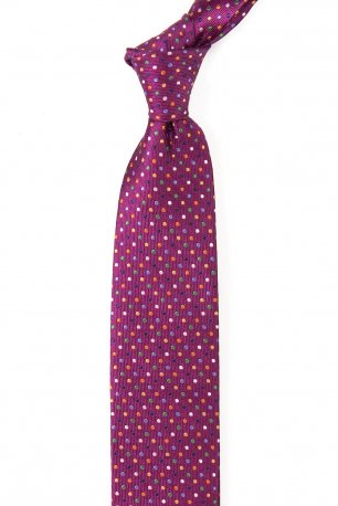 Cravata matase tesuta cyclam print geometric