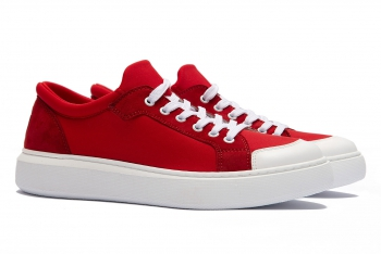 Red white Leather and textile Shoes