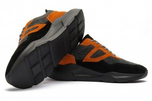 Sneakers negri piele mata, piele lucioasa si textil