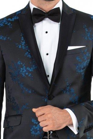 Sacou slim bleumarin print floral