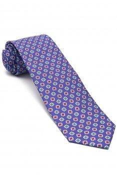 Cravata matase tesuta mov print floral