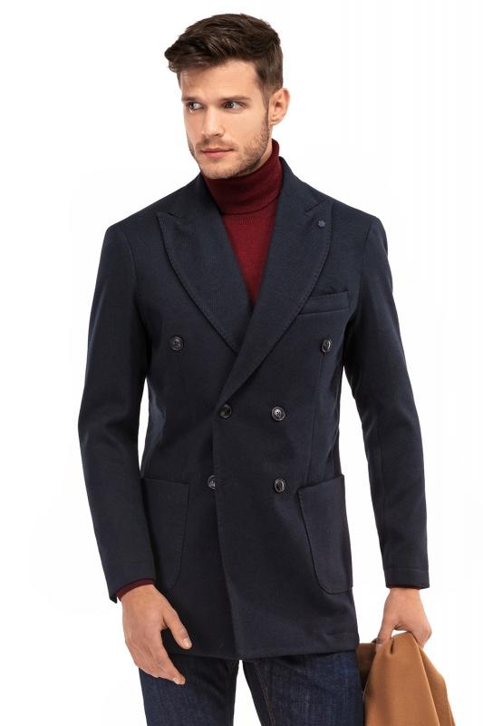 Palton smart casual bleumarin