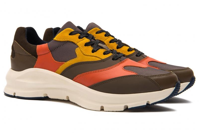 Sneakers grej piele naturala si textil