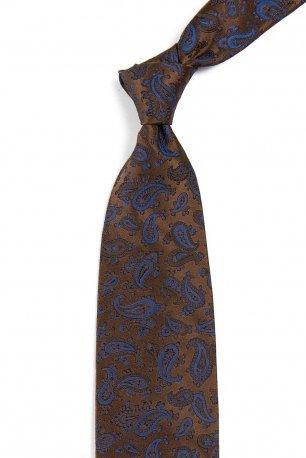 Cravata matase tesuta maro print floral