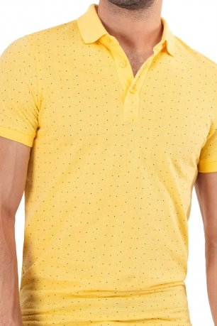 Tricou slim polo galben print geometric