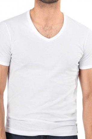 Tricou slim alb uni