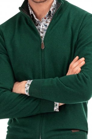 Pulover regular verde cu fermoar