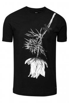 Tricou slim Negru print
