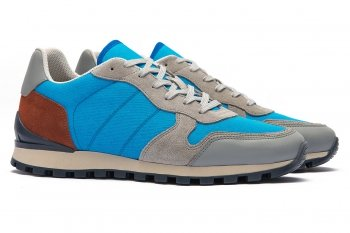 Sneakers bleu Piele mata naturala si textil