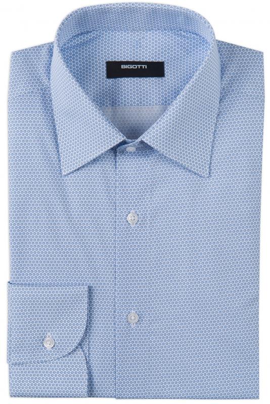 Camasa slim albastra print geometric