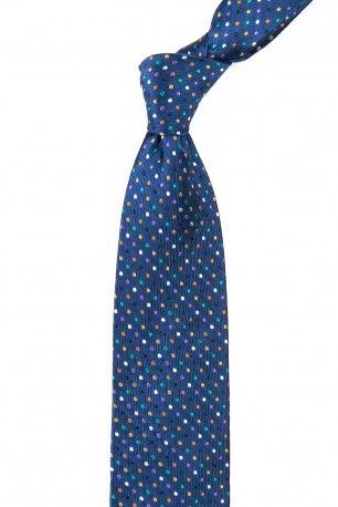 Cravata matase tesuta albastra print geometric