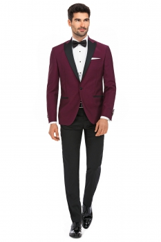 Slim Red Plain Blazer