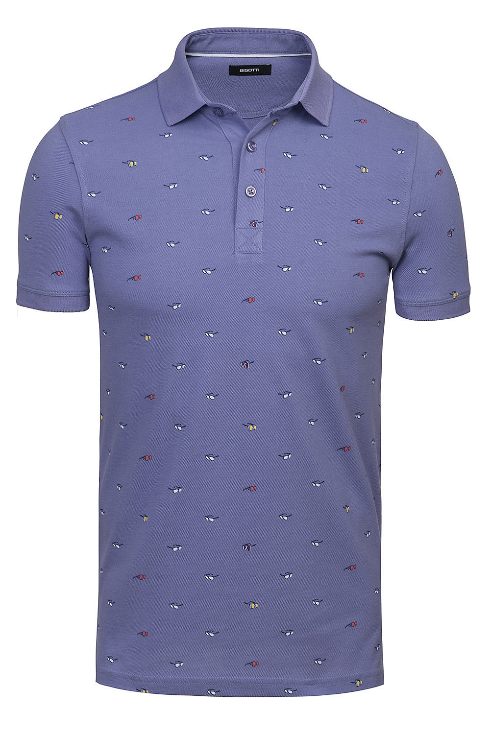 Tricou polo slim mov print geometric 0