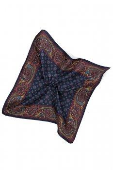 Batista bleumarin print geometric matase tesuta