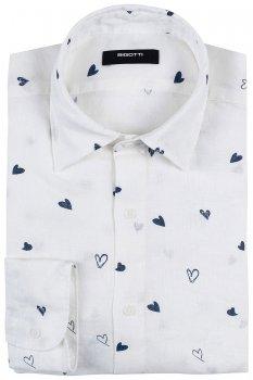 Camasa Slim din in Alba print Geometric